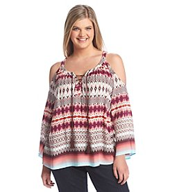 Jessica Simpson Plus Size Shayna Printed Cold Shoulder Peasant Top