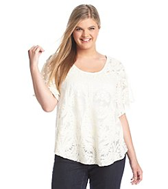 Jessica Simpson Plus Size Gwen Embroidered Lace Mesh Top