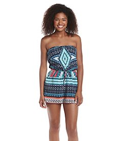 Be Bop Strapless Geo Printed Romper