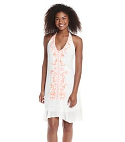 My Michelle® Embroidered Halter Flounce Hem Dress