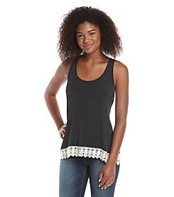 Eyeshadow® Crochet Hem Envelope Back Tank Top
