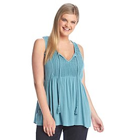 Eyeshadow® Plus Size Tie-Front Gauze Tank Top