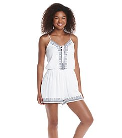 Trixxi® Lace-Up Embroidered Romper