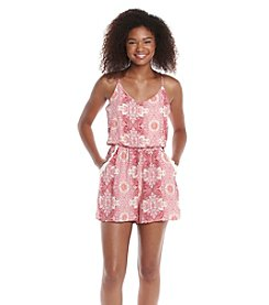 Trixxi® Printed Lattice Back Two-Pocket Romper