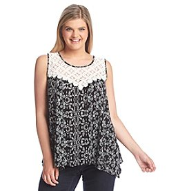 Living Doll® Plus Size Crochet Top Floral Print Swing Tank Top