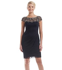 Xscape Beaded Ruched Dress