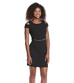 Jessica Simpson Cutout Shoulder Sheath Scuba Dress