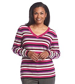 Studio Works® Plus Size Striped V-Neck Sweater