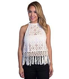 Skylar & Jade™ Lace Embroidered Fringe Top