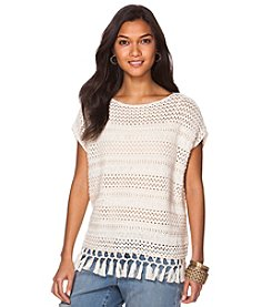 Chaps® Fringed Sweater