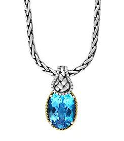 Effy® 925 Collection 0.07 Ct. T.W. Diamond And Blue Topaz Pendant In Sterling Silver