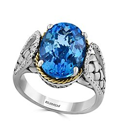 Effy® 925 Collection 0.14 Ct. T.W. Diamond And Blue Topaz Ring In Sterling Silver