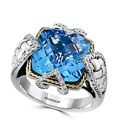 Effy® 925 Collection 0.12 Ct. T.W. Diamond And Blue Topaz Ring In Sterling Silver