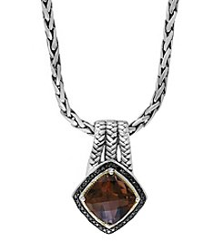 Effy® 925 Collection 0.20 Ct. T.W. Diamond And Smokey Quartz Pendant In Sterling Silver
