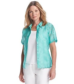 Alfred Dunner® Petites' Acapulco Layered Look Burnout Tee
