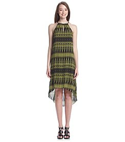 Kensie® Linear Ikat Print High-Low Halter Dress