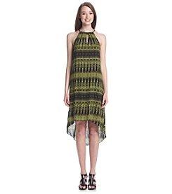 Kensie® Linear Ikat Print High-Low Halter Dress