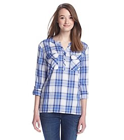 Kensie® Plaid Roll Sleeve Top