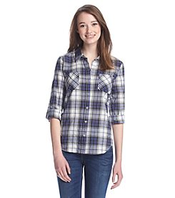 Sequin Hearts® Plaid Button Down Top