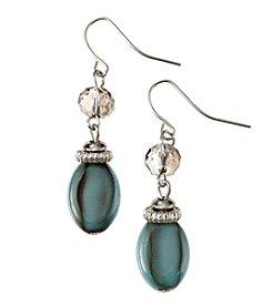 Laura Ashley® Silvertone Beaded Turquoise Drop Earrings