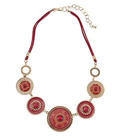 Studio Works® Goldtone Round Enamel Frontal Necklace