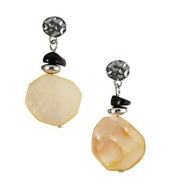 Laura Ashley® Button Top Shell Drop Earrings