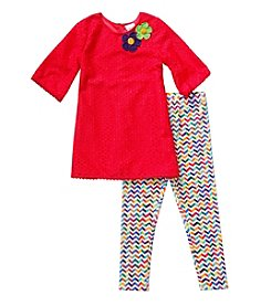 Sweet Heart Rose® Girls' 2T-4T Floral Crochet Tunic And Chevron Leggings Set