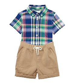 Ralph Lauren Baby Boys 2-Piece Plaid Shirt And Shorts Set