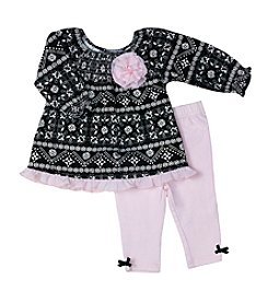 Wendy Bellissimo® Baby Girls' 2-Piece Printed Top And Leggings Set
