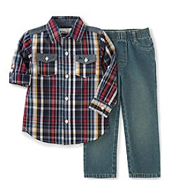 Kids Headquarters® Baby Boys 2-Piece Plaid Shirt And Jeans Set