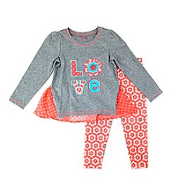 Nannette® Baby Girls' 2-Piece Love Applique Top And Floral Leggings Set
