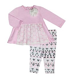 Baby Essentials® Baby Girls' 2-Piece Lace Top And Heart Leggings Set