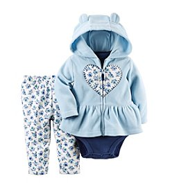 Carter's® Baby Girls' 3-Piece Floral Heart Hoodie Set