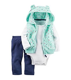 Carter's® Baby Girls' 3-Piece Heart Hooded Vest Set