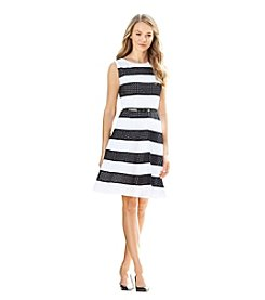 Calvin Klein Striped Eyelet Dress