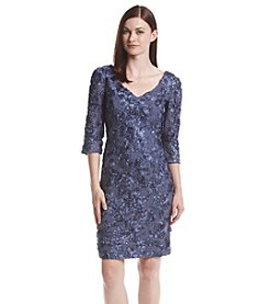 Alex Evenings Rose Patterned V-Neck Dress