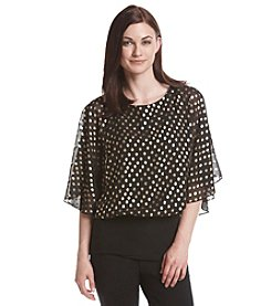 MSK® Dot Patterned Flutter Sleeve Top