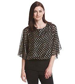 MSK® Dot Patterned Flutter Sleeve Top