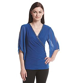 MSK® Jeweled Neck Surplice Top