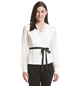 Alex Evenings® Lace Wrap Long Sleeve Blouse