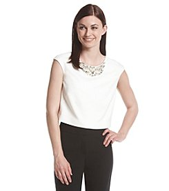 Eliza J® Jeweled Neck Separates Top