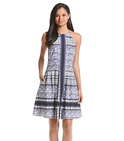 Vince Camuto® Fit And Flare Printed Scuba Dress