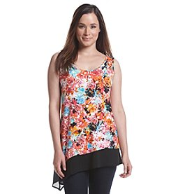 August Silk® Floral Asymmetrical Hem Tank
