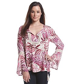 August Silk® Paisley Crochet Trim Blouse