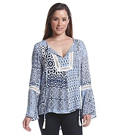August Silk® Tiled Crochet Trim Blouse