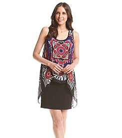 S.L. Fashions Patterned Chiffon Popover Dress