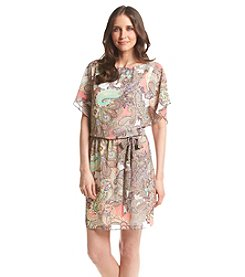 S.L. Fashions Chiffon Batwing Paisley Dress