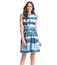 Julian Taylor Printed Panel Scuba Dress