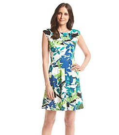 Julian Taylor Leaf Printed Scuba Dress