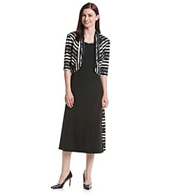 R&M Richards® Striped Lace Jacket Dress